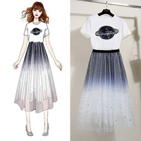 2 piece set women white summer t shirt top femme casual shirt mesh fairy good design ladies clothes