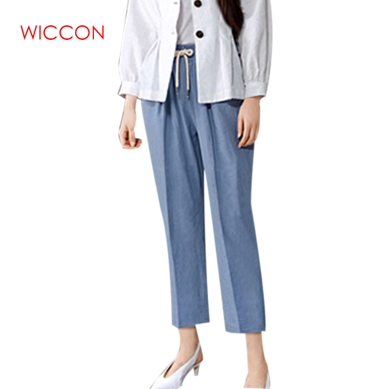 Summer High Waist Wide Leg Cotton Harem   Pants   Women Trousers Loose   Pants   Women's Office Plus Size   Pants     Capris   Big Size