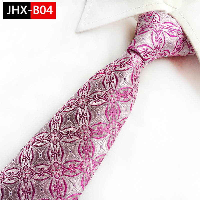 pink geometric striped tie
