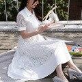DOWISI лето женщины пляж платья макси богемское белый длинные кружева Шифон boho женщин dress ladies vestidos largos de verano
