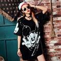 BringBring 2017 Mujeres de Moda de Verano camiseta Street Lindo Largo Flojo Lentejuelas Ratón de Dibujos Animados T-shirt de Manga Corta Recta 1816