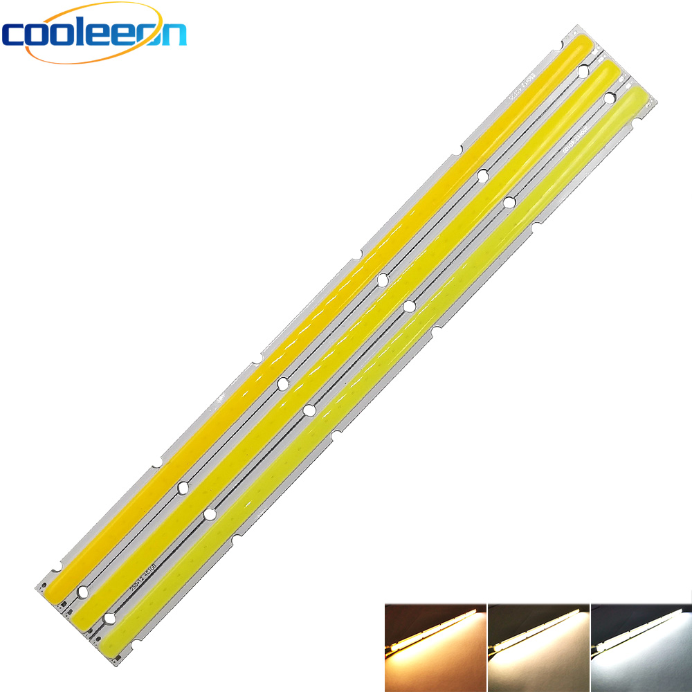 COOLEEON 250*12mm LED Light Strip COB Bulb LED Lamp 12V DC 10W Lighting Source 25cm Bar Lights For Auto Car Working Lamps DIY