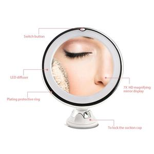 Image 2 - RUIMIO Magnifying Makeup Mirror with Power Locking Suction Cup Bright Diffused Light and 360 Degree Rotating Adjustable Arm