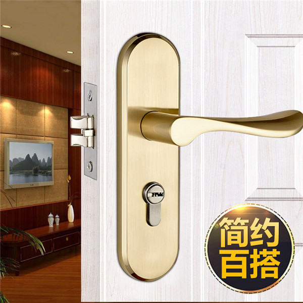 3516 golden color modern style door lock bedroom room - Door handles with locks for bedrooms ...