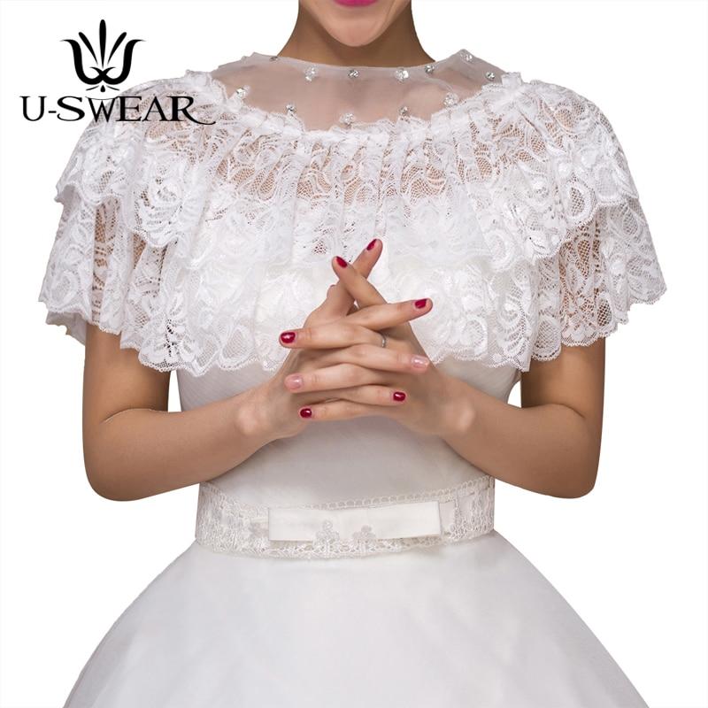 U-SWEAR 2018 New In Lace Flora Ruffle Diamond Beaded Wedding Jacket Women Soft Bolero Wedding Accessories Bridal Wraps Shawls