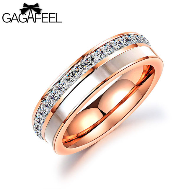Gagafeel Laser Custom Engrave Logo Wedding Rings For Jewelry Cubic Zircon Stainless Steel Ring