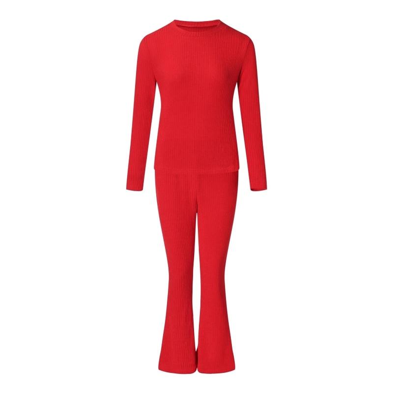 2 teile//satz Frauen Herbst Mode Pullover Anzug Sets Rippe Gestrickt Pullover Hosen Frauen Solide Langarm Tops + Hosen Kleidung set
