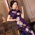 New Top Grade Chinese Traditional Handmade 100% Silk Women's Embroider Flower Double Deck Long Cheong-sam Dress M-3XL