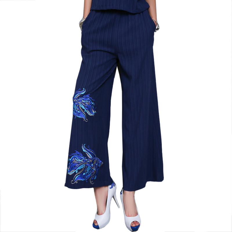 Navy Blue Novelty Vintage Chinese Women Flower Pleated Trousers Chiffon   Wide     Leg     Pants   Autumn Long Embroidery   Pant   Size L-XL