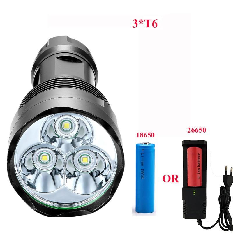 3800 Lumen High Power Flashlight  3*T6 Powerful LED Flash Light With18650 Or 26650 Torch Light Lanterna Camping Riding