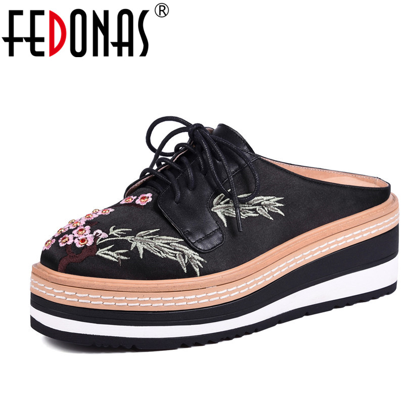 FEDONAS Women Platforms Oxfords Flats Genuine Leather Cloth Shoes Brand Embroider Female Footwear Casual Shoes Woman