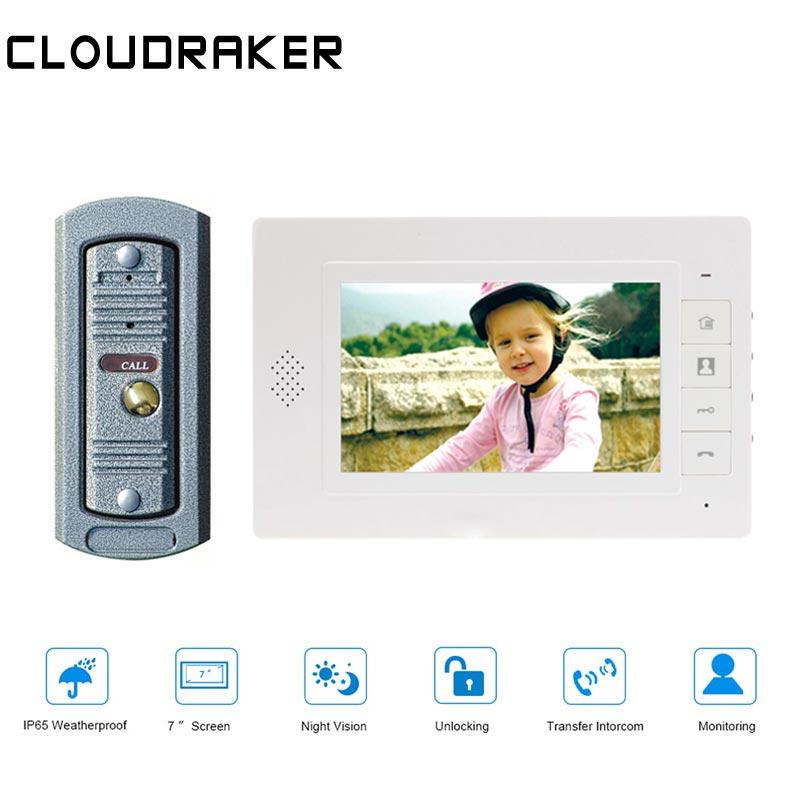7 CLOUDRAKER Polegada 1x Monitor com 1x peephole Vídeo Campainha Sistema de Interfone Do Telefone Da Porta Com Fio Câmera
