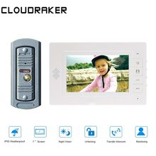 CLOUDRAKER 7 Inch Video Doorbell Intercom System 1x Monitor with 1x peephole Wired Door Phone Camera цена