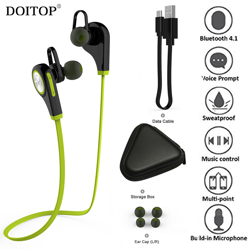 DOITOP Sports Bluetooth Headset CSR4.1 Wireless Headphone Music Stereo Earphone with Microphone for iPhone 8 7 plus Samsung LG
