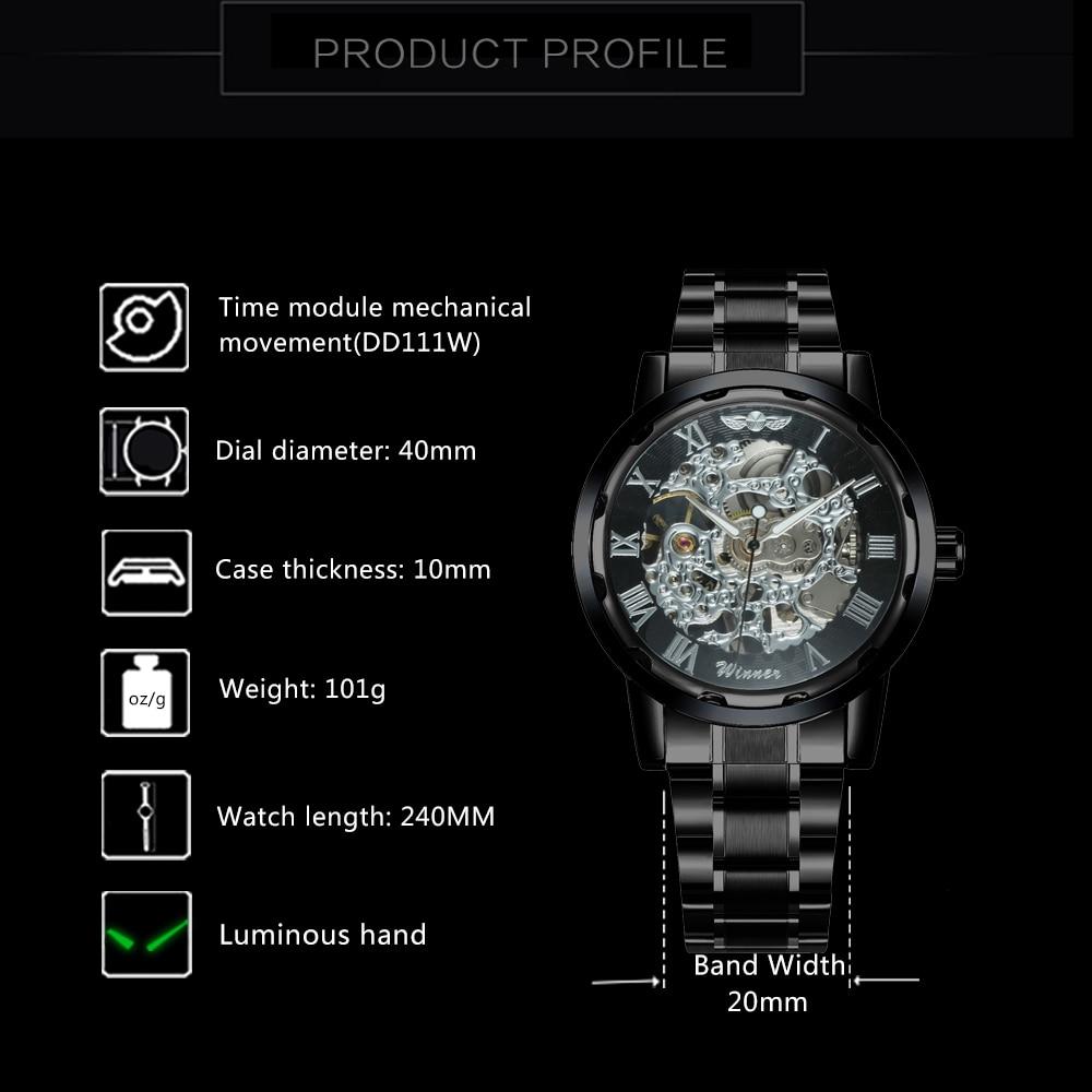 HTB1SR5mN3HqK1RjSZFPq6AwapXaY 2019 WINNER Mechanical Watches For Men Hand-wind Steel Watches Roman Number Skeleton Wristwatches Luminous Hands reloj hombre
