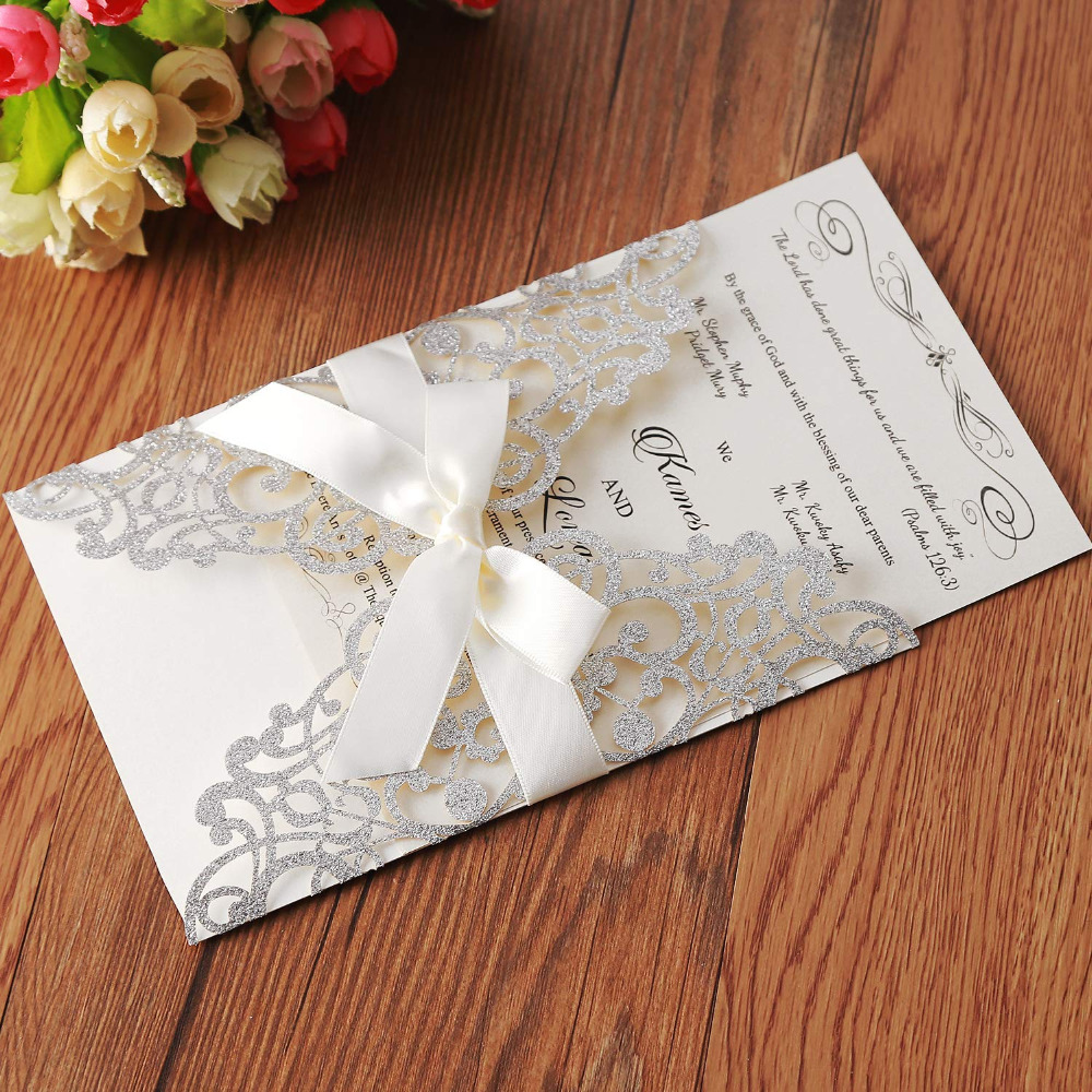 Sliver Glitter Laser Cut Wedding Invitations Cards With Ribbon Hollow Flora for Bridal Shower Party supplies,Customizable 100pcs