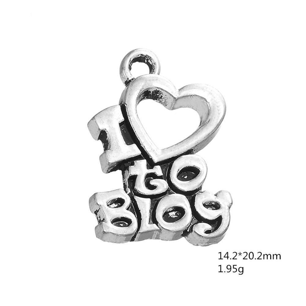 30PCS Hand-Made Mate Engraved Letter I LOVE BLOG Charms Heart Charms DIY For DIY Necklace&Bracelet&Earrings Jewelry Making image
