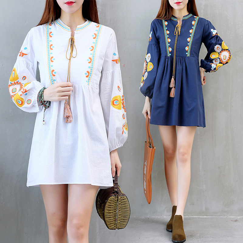 New Spring Cotton Maternity Dress Bohemia Long Sleeve A-line Dress Floral Embroidery Pregnancy Clothes with Tassel Large Size