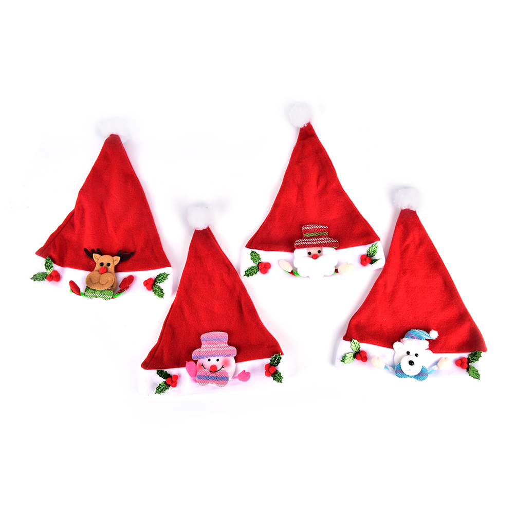 4 Styles Christmas Santa Claus Plush Hat Adult Children Xmas Cartoon Hats Caps New Year's Gifts Home Party Supply