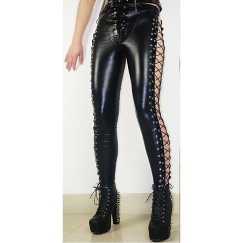 Nouveau élégant femmes Club Sexy Leggings à lacets sur les côtés haute qualité Wetlook Faux cuir crayon Rock Steampunk Punk pantalon - 2