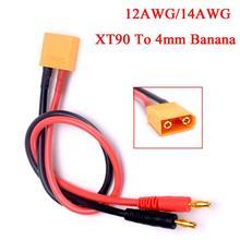 XT90 до 4 мм банановые вилки кабель для зарядки аккумулятора Lipo зарядное устройство свинец 40 см 12AWG/14AWG для imax B6