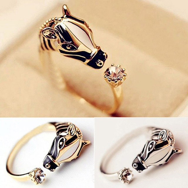 Women's Fashion Good luck Crystal Open Ring Elegant Trendy Animal Horse Head Ring For Women Fashion Jewelry 1PCS