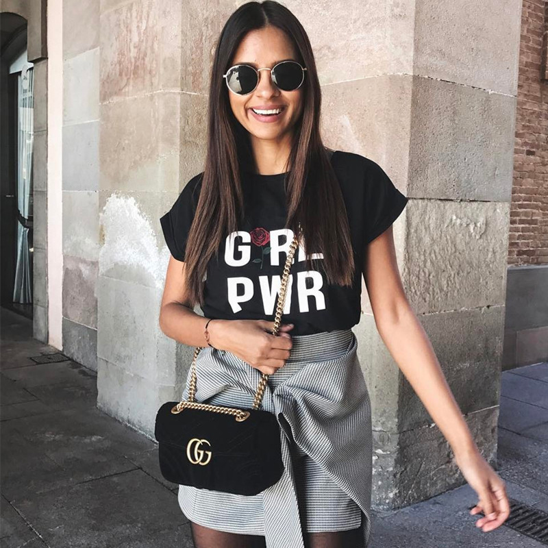 Girl power Letter rose Print summer plus size women T shirt Short Sleeve korean fashion 2019 white oversized vintage clothing in T Shirts from Women 39 s Clothing