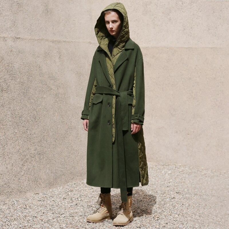 2018 Hiver Nouvelle Arrivée armée vert avec un detachabe capot surdimensionné long blanc duvet de canard veste laine manteau femmes