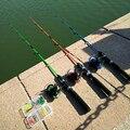Набор Спиннинговых удочек 1 5 м  спиннинговая катушка + крючки + вес + приманки  однотонный Рыболовный набор из FRP  зеленая удочка  2 секции  детс...