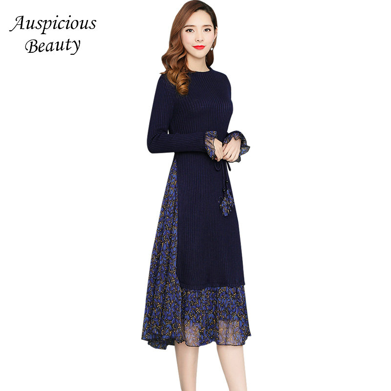 Fashion Women Spring Sweater Knitted Dress Slim Elastic Waist Long Sleeve Lady Party Bodycon Printed Robe Dresses Vestidos SXM38 2017 new jeans women spring pants high waist thin slim elastic waist pencil pants fashion denim trousers 3 color plus size