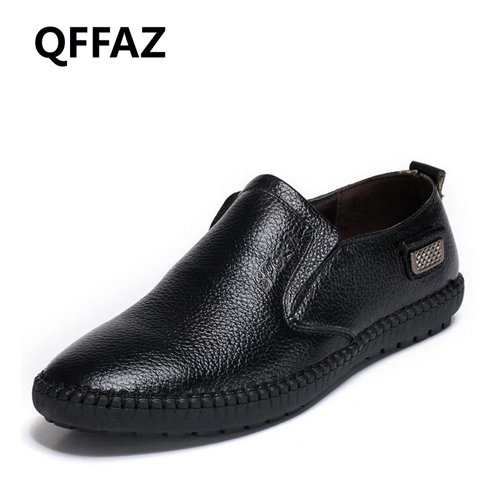 QFFAZ Men's Shoes New 2018 Fashion Genuine Leather Men's Loafers Driving Shoes Mocassins Spring Autumn Men Casual Shoes 2017 new spring imported leather men s shoes white eather shoes breathable sneaker fashion men casual shoes