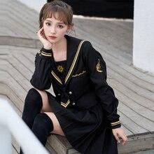 UPHYD/японская форма с длинным рукавом для школьниц, с вышивкой сакуры, для старшей школы, женские новые матросские Костюмы, униформа для девочек черного цвета