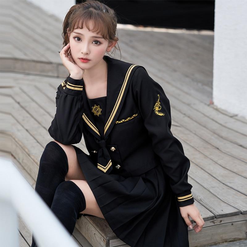 UPHYD Long Sleeve Japanese Uniform School Girls Sakura Embroideried High School Women Novelty Sailor Suits Girl Uniform Black