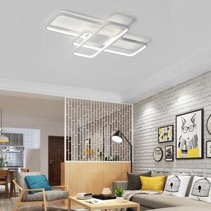 Image 2 - สี่เหลี่ยมผืนผ้ารีโมทคอนโทรลโคมไฟเพดาน LED โมเดิร์นสำหรับห้องนั่งเล่นห้องนอน Home AC85 265V สีขาว/สีดำโคมไฟเพดานโคมไฟ