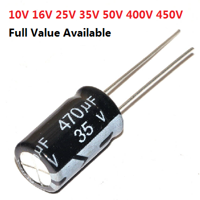 5PCS 6.3V 10V 16V 25V 35V 50V 400V 1000UF 1500UF 2200UF 3300UF 4700UF 680UF 1UF 2.2UF 3.3UF Aluminum Electrolytic Capacitor