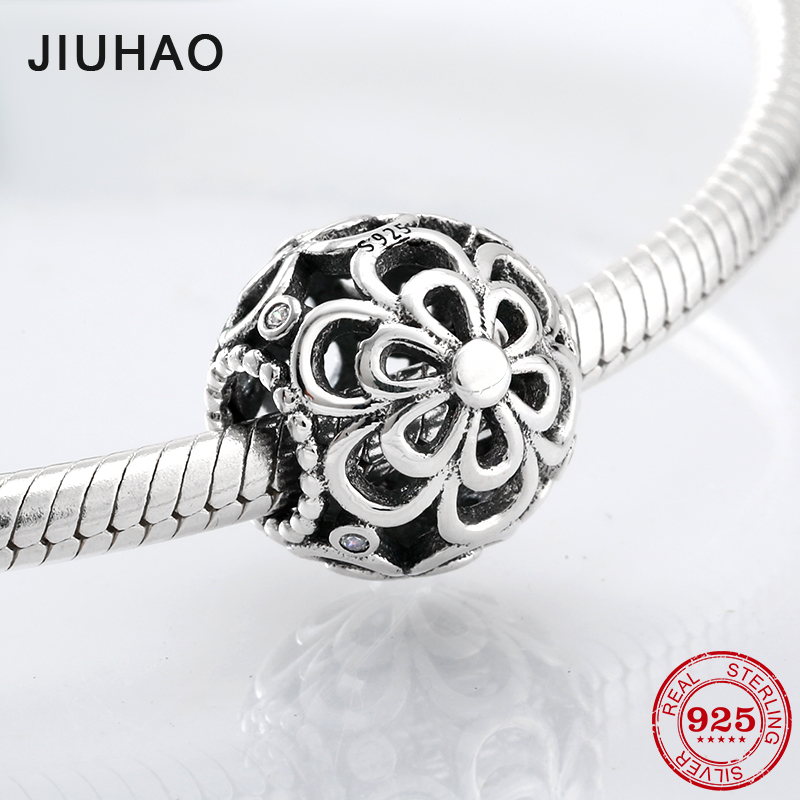 New fashion 925 Sterling Silver hollow flower beads Fit Original Pandora Charm Bracelet Jewelry making real 925 sterling silver charm flower safety chain beads diy for fashion fit original pandora charms bracelet jewelry making