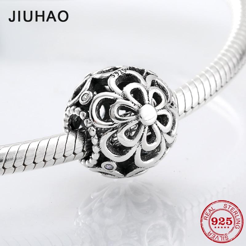 New Fashion 925 Sterling Silver Hollow Flower Beads Fit Original Pandora Charm Bracelet Jewelry Making