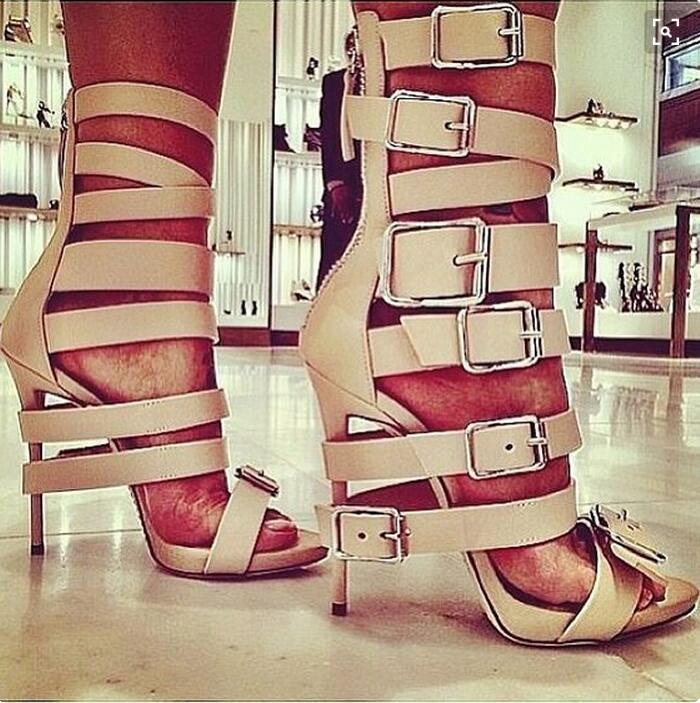 все цены на Hot selling multi buckle strap sandals open toe gladiator high heel sandals wome summer sandals party shoes size 35 to 42