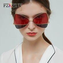 f8f73d52bf11b FZKYNY Lady Retro Delicada Borboleta óculos de Sol Marca de Luxo Designer  Super Star Estilo Óculos de Sol Mulheres Two-tone Ócul.