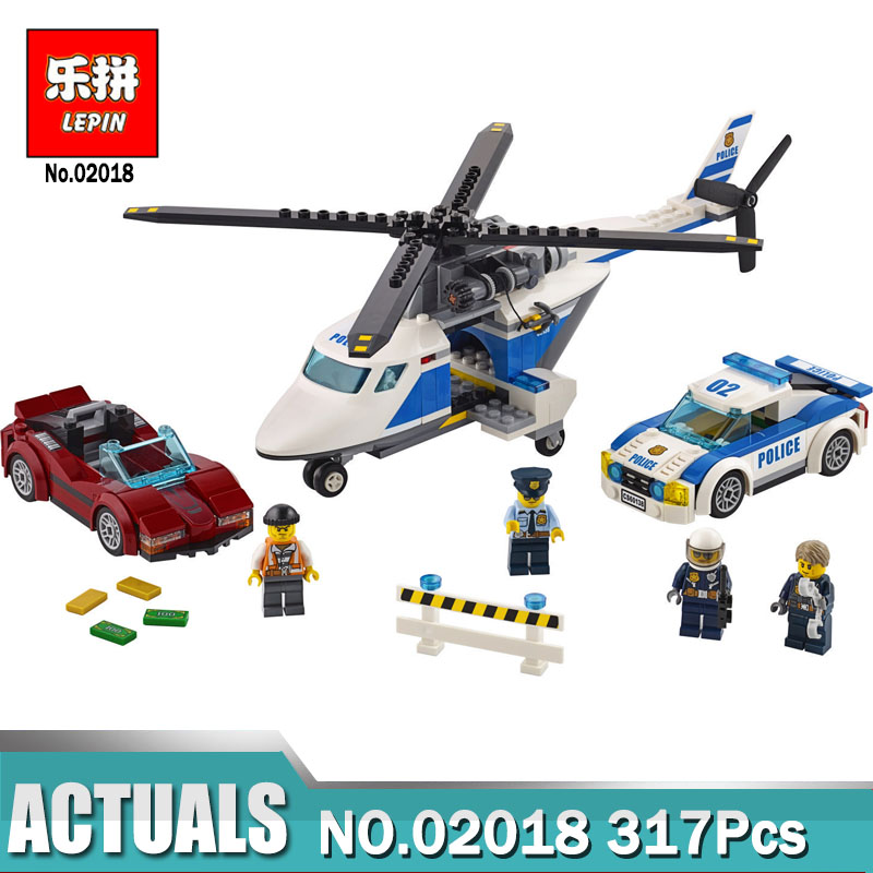 02018 LEPIN City Police High-Speed Chase Set Building Blocks 317 Pcs DIY Toys For Children Compatible Legoing 60138 Model lepin 02012 city deepwater exploration vessel 60095 building blocks policeman toys children compatible with lego gift kid sets
