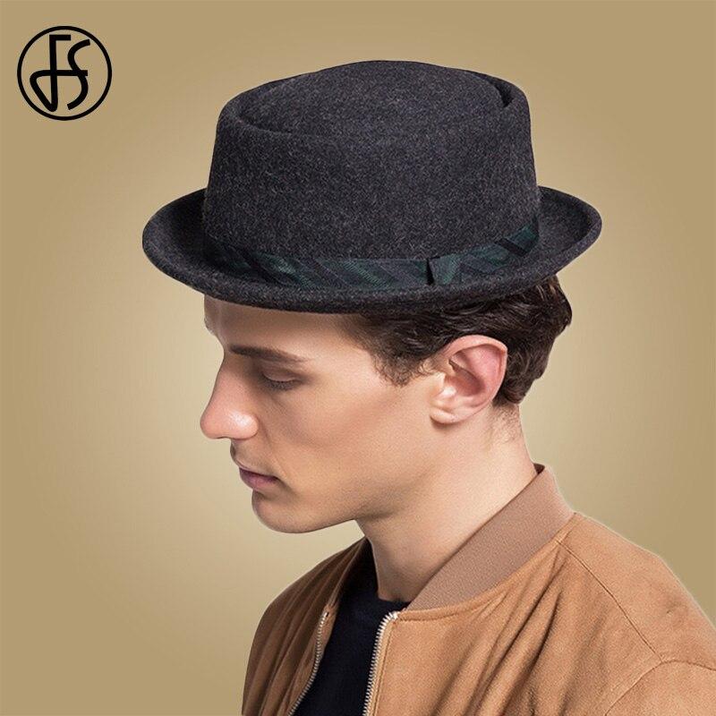 Fashion Unisex Winter Hat Winter Wool Felt Fedora Hat for Men Vintage Black Godfather Mans Autumn Round Top Fashion Pork Pie Hat Ribbon