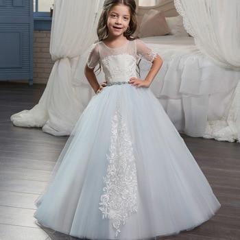 Glitz Elegant Light Blue Flower Girl Short Sleeves Pageant Dress Kids Ball Gowns Teen Lace Appliques First Communion Party Dress