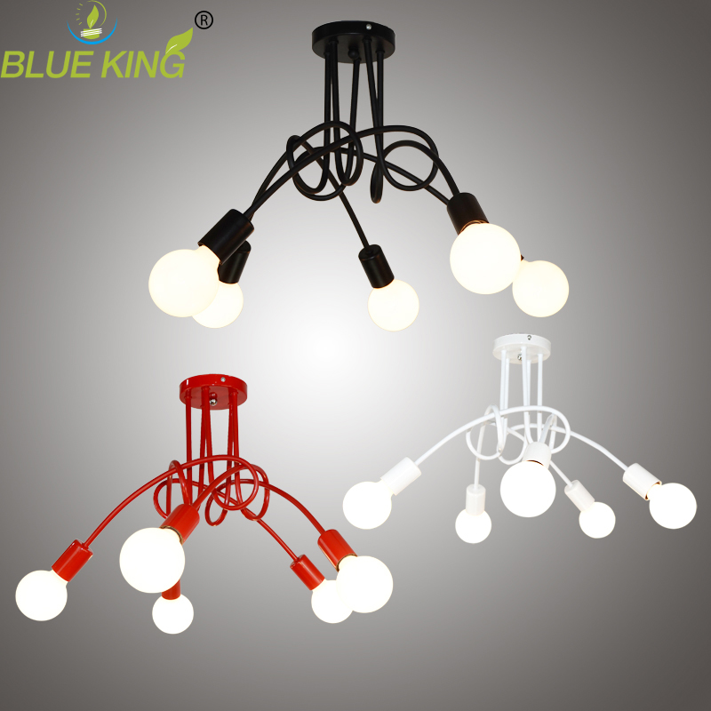 Modern Creative E27 iron ceiling lights Country style Black/Red/White kids Lamp Home Decoration <font><b>Lighting</b></font> Ceiling Lamp Fixture