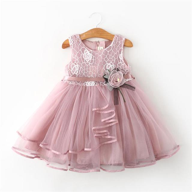 Rendas Pouco Vestidos de Princesa Verão Sólida Sem Mangas de Tule Tutu Vestidos Para Meninas 2 3 4 5 6 Anos Roupas de Festa pageant Vestidos