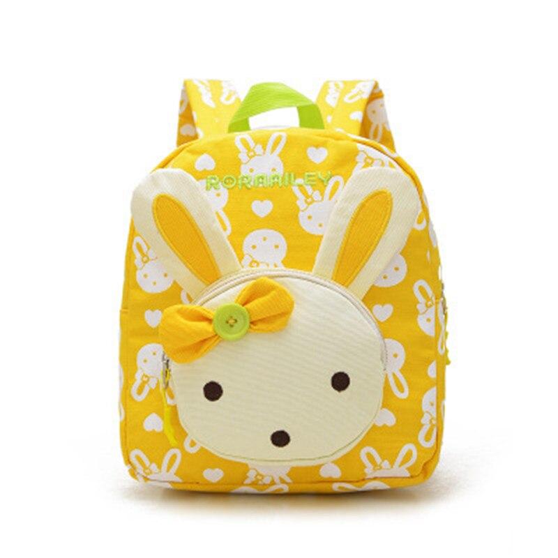 Lovely Cute Kids School Bags Rabbit Bear Dolls Applique Canvas Backpack Mini Baby Toddler Book Bag Kindergarten Rucksacks BP820