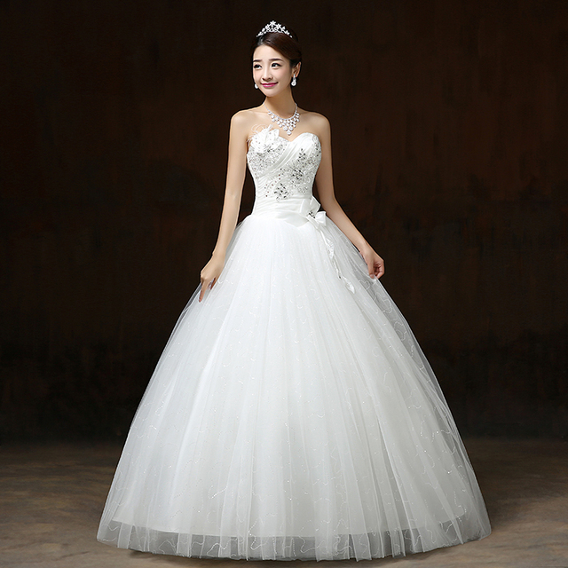 LYG-H57#Ball Gown Resin Crystal Sequins Flower Lace up wedding dress 2019 summer new Dresses cheap wholesale and custonm China 1