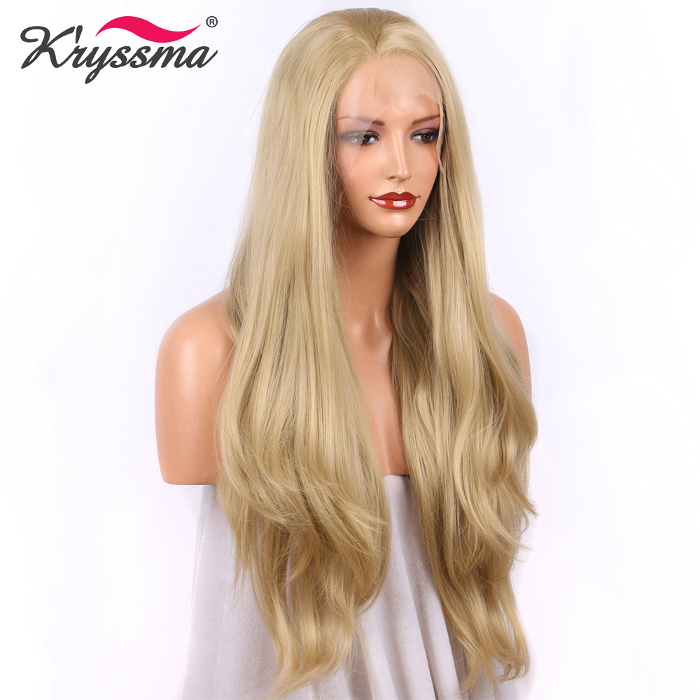 Wig Blonde for Women Synthetic Lace Front Wig Long Wavy Heat Safe Fiber Hair Wigs for