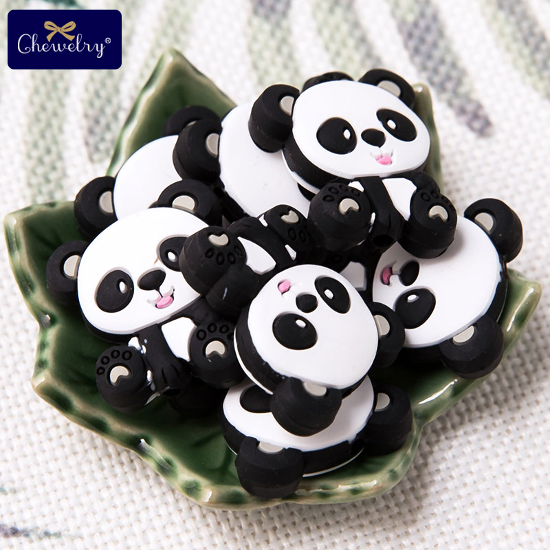 10PC Silicone Teether Beads Panda Baby Toy DIY Pacifier Chain Necklaces Pendant Bite Chew Bite Chew Rodent For Teething Kids Toy
