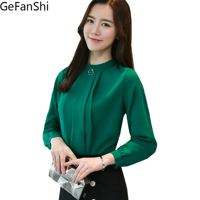 9322533e9ccfd New Arrival Spring Summer Women s Shirts Long Sleeve Office Ladies  Tops  Formal Elegant Blusas Casual Fashion Blouses Green