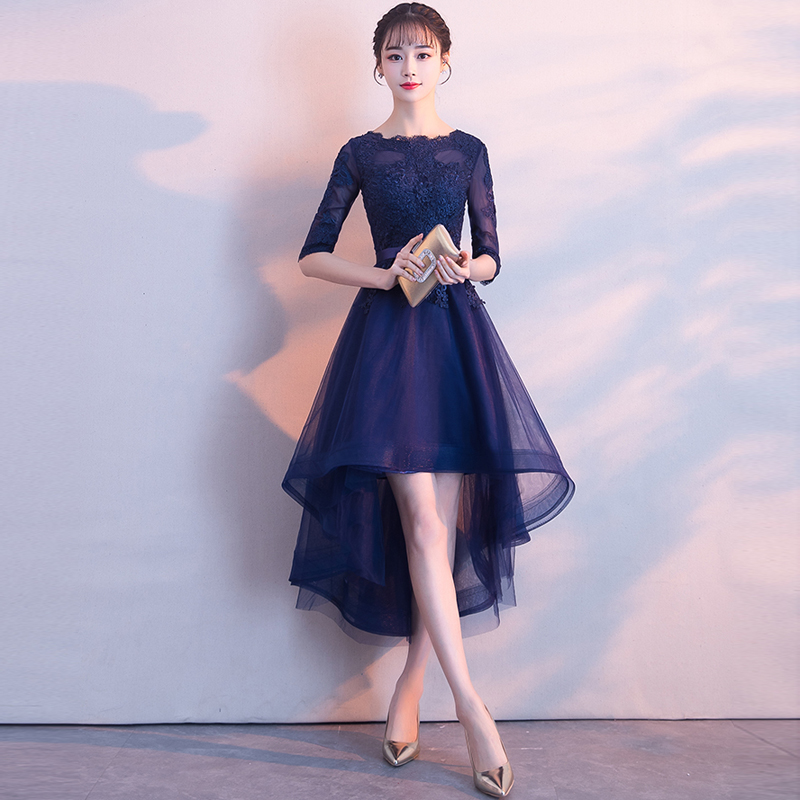 2018 Long Navy Blue Bridesmaid Dresses Front Short Back Longer Chiffon A Line Vestido De Madrinha Casamento Longo